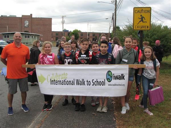 students at walk to school day